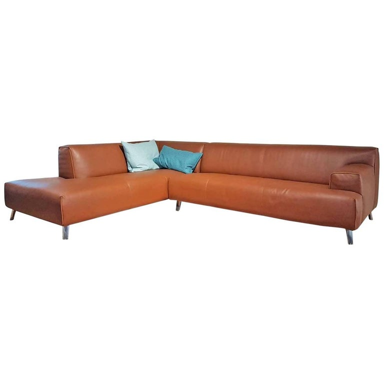 "Sofa ""Oscar"" by Manufacturer Leolux in 100% Genuine Leather and Aluminum 1"