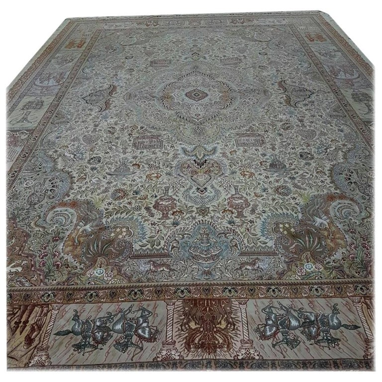 Ancient Symbols-Nami Designer, Hand-Knotted Persian Tabriz Rug For Sale