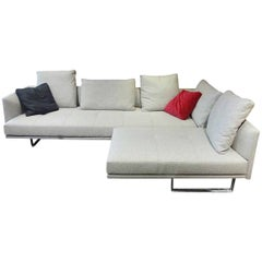 "Sofa ""Prime Time"" by Manufacturer Bielefelder Werkstätten in Chrome and Fabric"