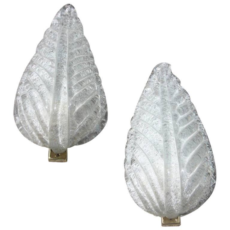 Pair of Midcentury Italian Sconces Barovier Ruggiadoso Glass