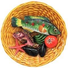 Lamarche Majolica Trompe L'oeil Colorful Seafood Basket Plate, Monaco, 1960s