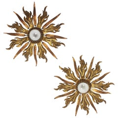French 1930s Pair of Leafed Copper & Gilt Iron Sunburst Ceiling or Wall Sconces
