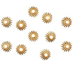 Set of Eleven Gilt Iron Flower Sunburst Wall Ceiling Light Fixtures, Spain 1960s