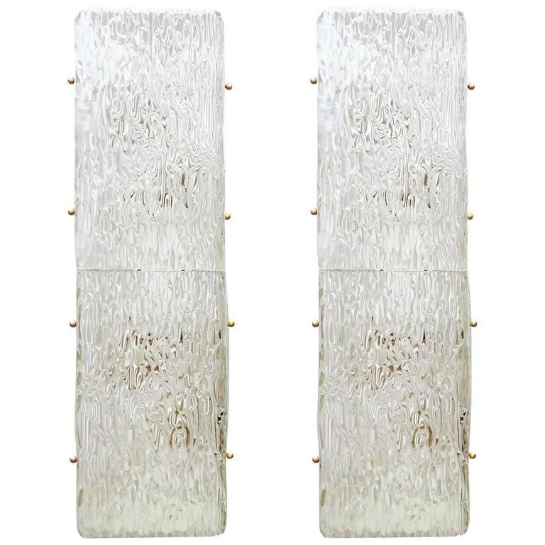 Pair Large  MidCentury Kalmar Glass Mirror Vanity Sconces,  1960s