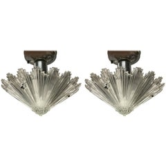 Pair of French Cut Crystal Starburst Pendants Attributed to Baccarat