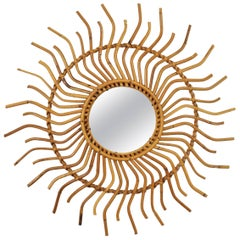 1960s Spanish Bamboo Rattan Sunburst Pinwheel Mirror with Curly Beams