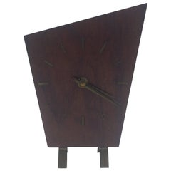 Dark Wood Minimalist Art Deco Table Clock by Junghans