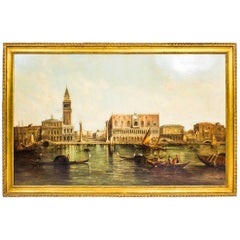 Antique Oil Painting Doge's Palace & St Marks Square Alfred Pollentine
