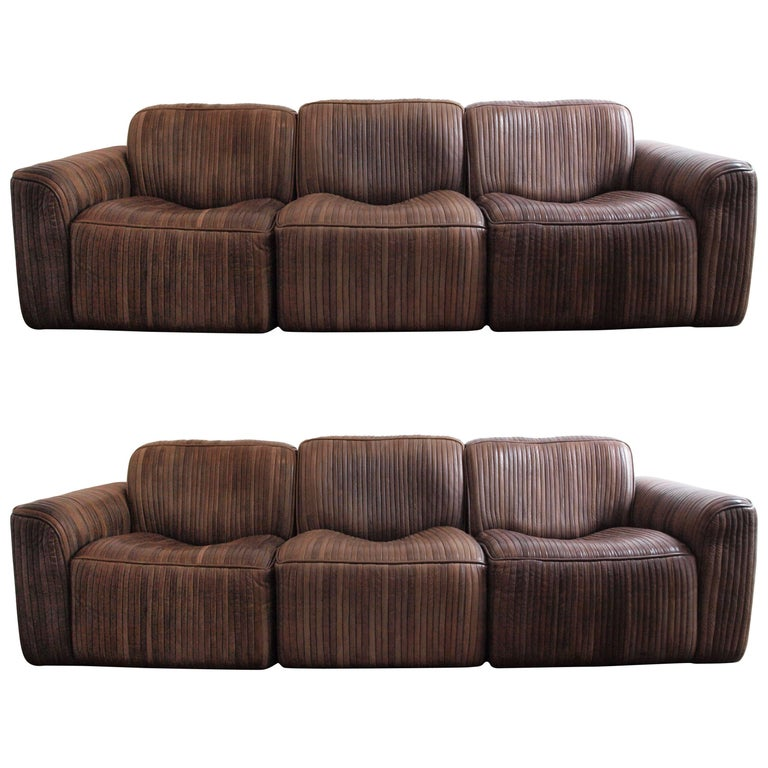 Pair of Leather Strip Three-Seat Sofas Attributed to De Sede