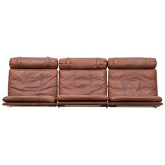 1960s Brown Leather Wall-Mounted Sofa by Fabricius / Kastholm
