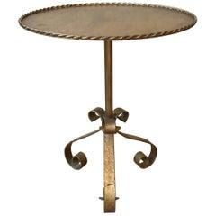 Gilt Metal Side Table on a Tripod Base