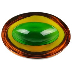 Murano Sommerso Green Yellow Amber Italian Art Glass Geode Cut Bowl Dish