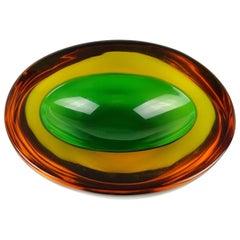 Murano Sommerso Green Yellow Amber Italian Art Glass Geode Cut Bowl Dish