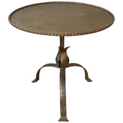 Spanish Gilt Iron Side Table with Leaf Motif