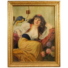 20th Century Hungarian Painting Portrait of Woman Oil on Canvas
