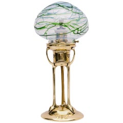 Very Beautiful Table Lamp with Original Pallme König Glass Shade, circa 1908