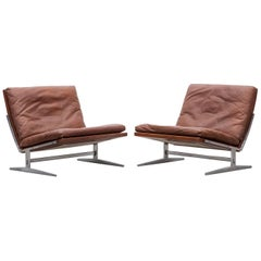 1960s Brown Leather Lounge Chairs by Fabricius / Kastholm