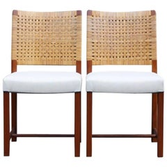 Carl-Gustav Hiort Af Ornäs,1950s Set of Two Cane Dining Chairs