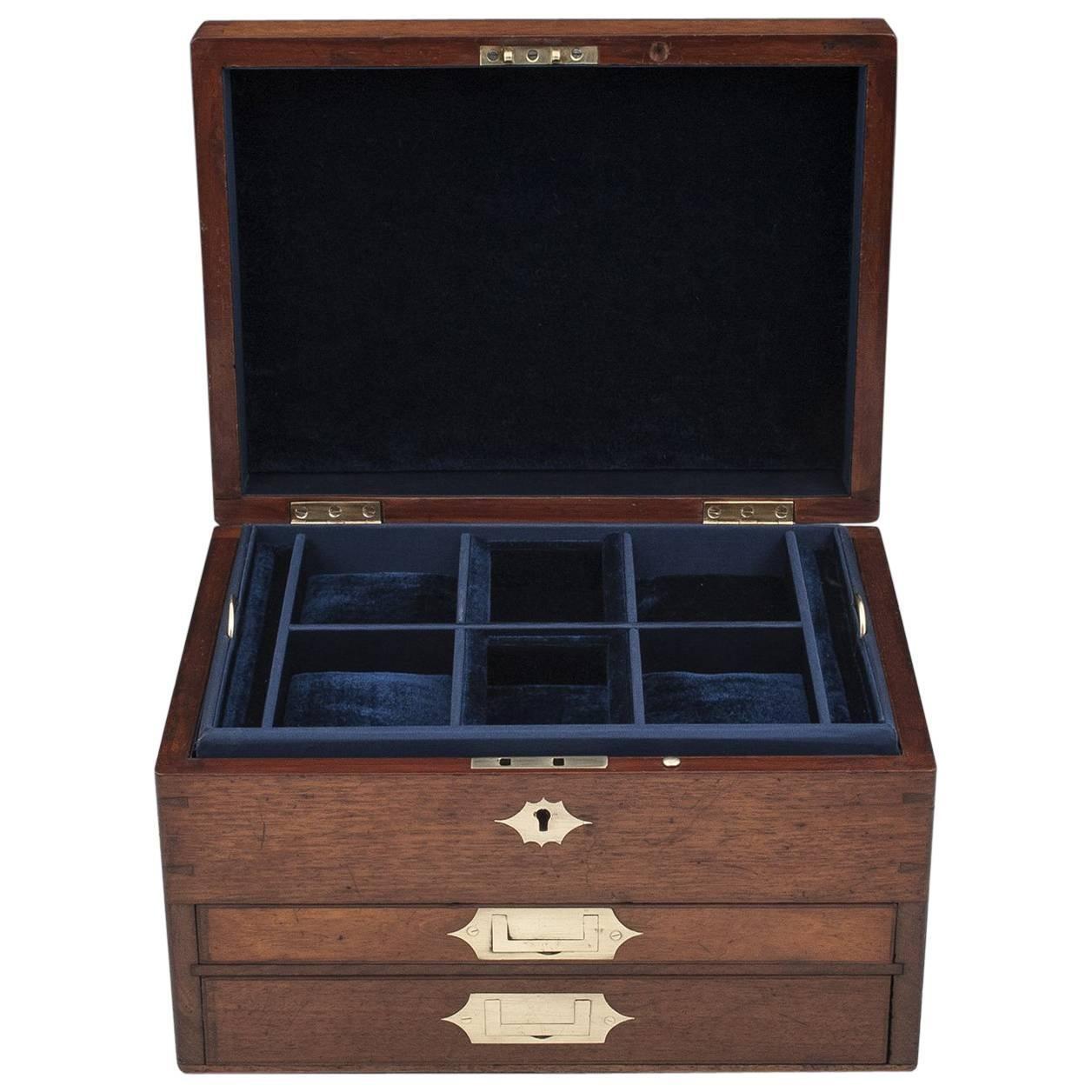 Antique Mahogany Jewelry Box with Velvet Lined Interior 19th