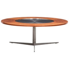 1960s Brown Teak and Steel Table by Fabricius / Kastholm, Manufactured by Bo-Ex