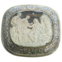 William IV Silver and Slip Cushion Shaped Vinaigrette Cornelia Mother of Gracchi