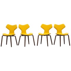 1950s Yellow Upholstery, set of four Plywood Chairs by Arne Jacobsen