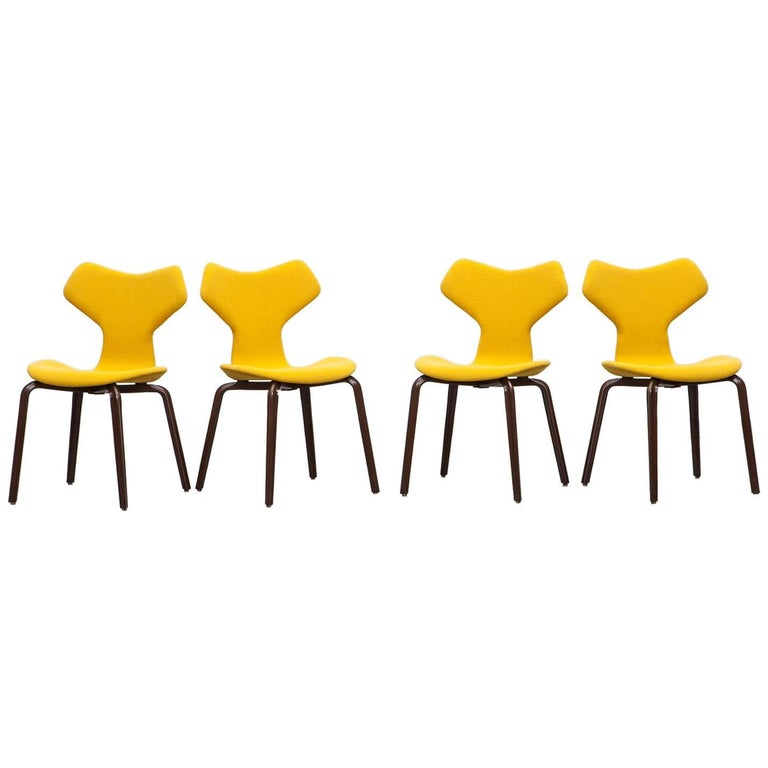 1950s Yellow Upholstery, Plywood Chairs by Arne Jacobsen
