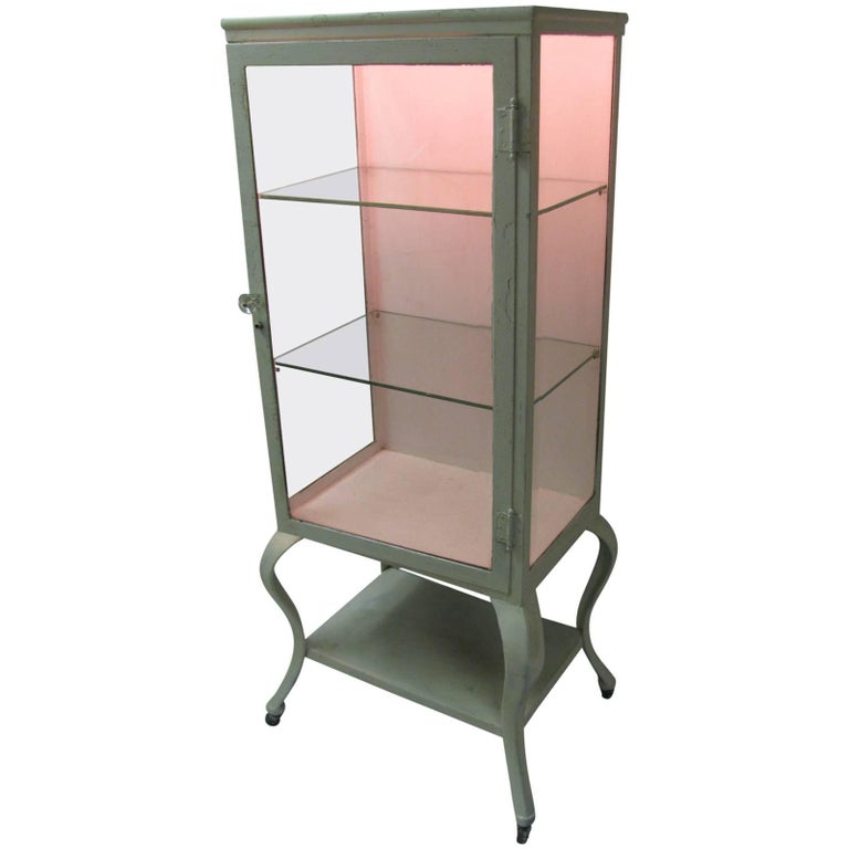 Cast Iron Doctors Medical Cabinet with Cabriole Legs