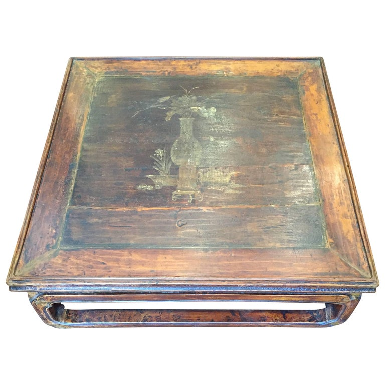 19th Century Q'ing Dynasty Elm Kang Table with Golden Painting