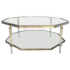 Midcentury Octagonal Two-Tier Coffee Table, Attributed to Bagues with Glass