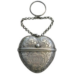 Victorian Antique Silver Heart Shaped Vinaigrette, Rawlings & Summers, 1852