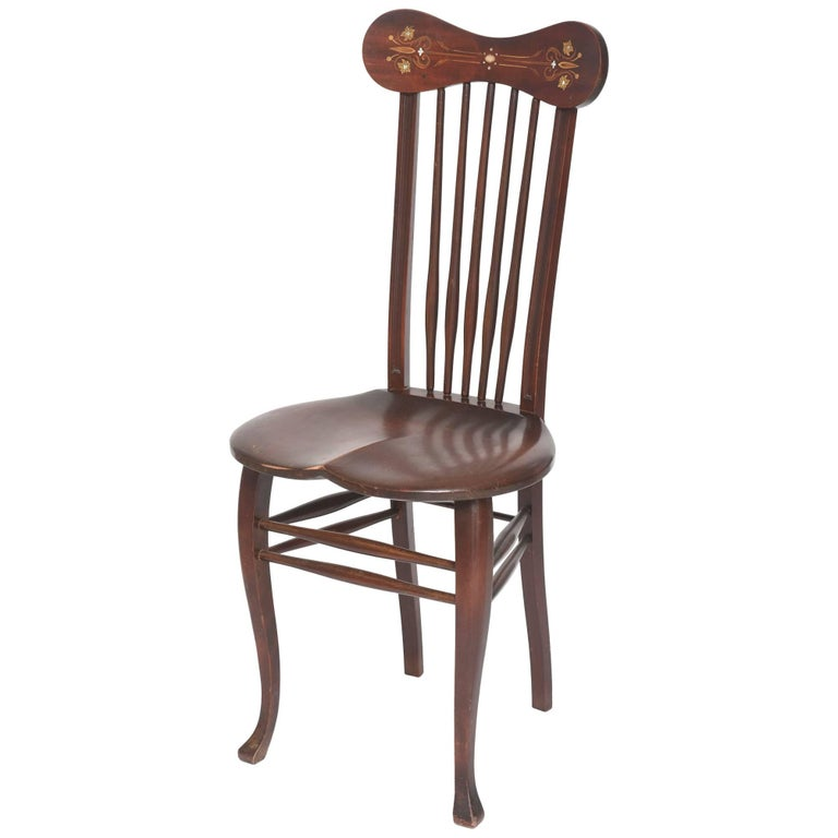 Antique Mother-of-Pearl Inlaid Windsor Side Chair Spindle Back Saddle Seat