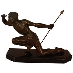Art Deco Sculpture of an Athletic Man by J. De Roncourt