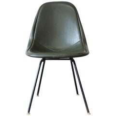 Original Eames for Herman Miller DKX-1 Side Chair in Army Green Vinyl, 1960s