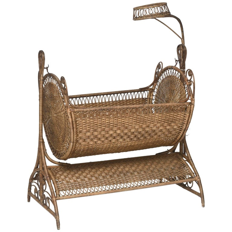 19th Century Victorian Wicker Swinging Baby Cradle For Sale