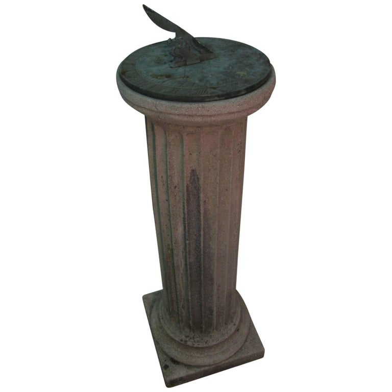 Cast Stone Fluted Column Sundial