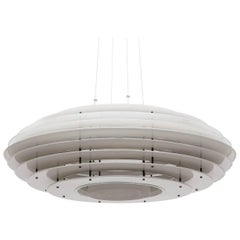 Large and Rare White Aluminum Ceiling Lamp by Idman, 1960s