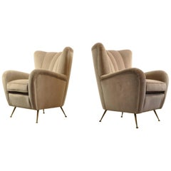 Pair of Light Grey 1950s Italian Armchairs