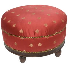 Antique Studded Red Footstool with Wooden Feet