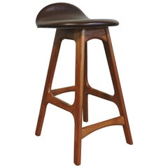 Erik Buck Midcentury Danish Modern Teak Counter Stool