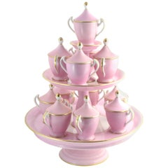 Antique Old Paris Pink and White Pots de Crème Set Cups with Tiered Stand