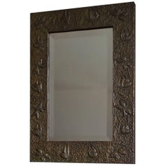 Early 20th Century Handcrafted Arts and Crafts Mirror with Embossed Butterflies