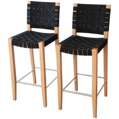 Risom Style Black Canvas Strap Bar Stools by Andreu World