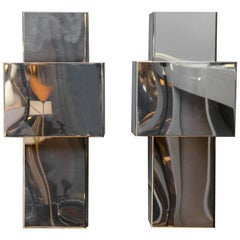 "Pair of Stainless Steel and Copper ""Lovelamp"" Wall Sconces by Willy Rizzo"
