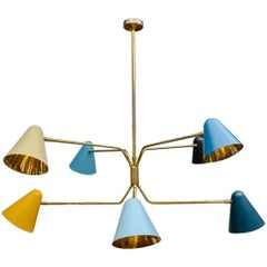 Modern Multicolor Cones and Brass Chandelier