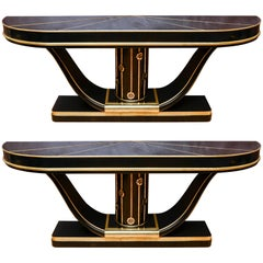 Pair of Console Tables in Tainted Glass, Wood and Brass
