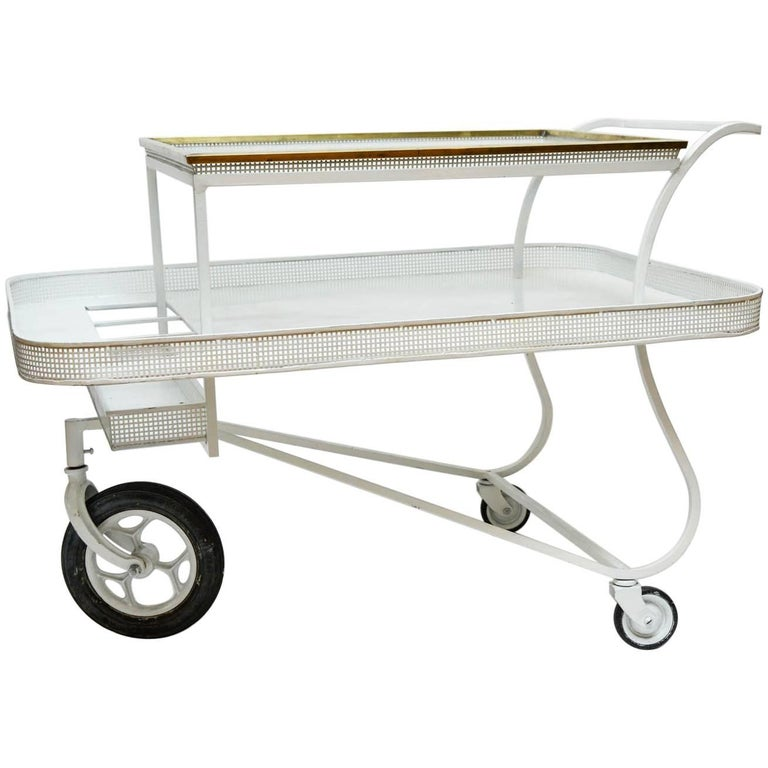 Mathieu Mategot Serving Cart with Removable Tray in White Enameled Metal