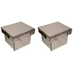 Pair of Bedside Table in Mirror with One Drawer and One Door