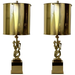 Pair of 1970s Bronze Lamps by G Papineau