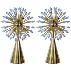 "Pair of Murano Glass Table ""Sputnik"" Lamps by Guanluca Fontana"